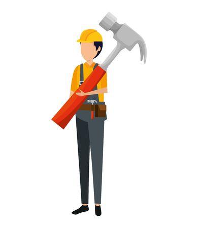builder worker with helmet and hammer vector illustration design