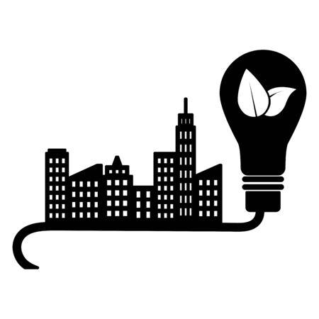 city light bulb energy eco friendly environment vector illustration Ilustracja