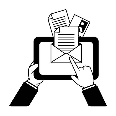 hands with tablet send email vector illustration
