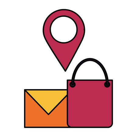 shopping bag email and navigation pin vector illustration 스톡 콘텐츠 - 130133433