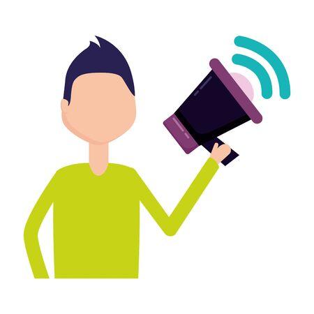 man holding speaker social media vector illustration