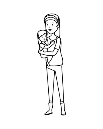beautiful mother lifting daughter vector illustration design