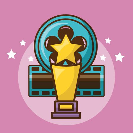 Cinema trophy design, Movie video film media entertainment show and event theme Vector illustration