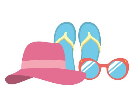 vacations hat sandals and sunglasses vector illustration