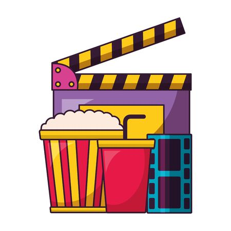 clapboard pop corn soda film cinema design vector illustration Иллюстрация