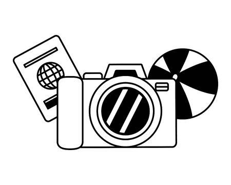 beach vacations camera passport ball  vector illustration