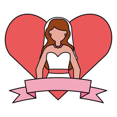 bride in dress love heart vector illustration