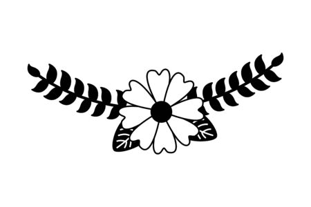 flower branch leaves decoration vector illustration design