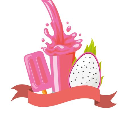juice ice cream dragon fruit splash tropical fruits vector illustration Archivio Fotografico - 130134546