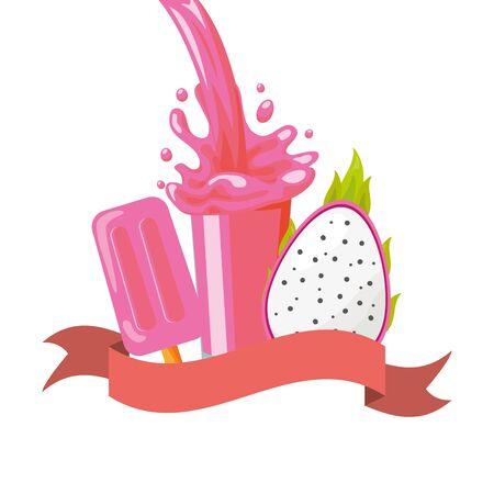 juice ice cream dragon fruit splash tropical fruits vector illustration Illustration