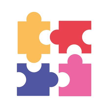 Puzzle design, Jigsaw game teamwork match toy connection and solution theme Vector illustration Illusztráció