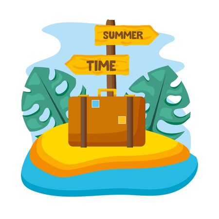 summer time holiday suitcase leaves tropical wooden signal vector illustration Stockfoto - 130134768