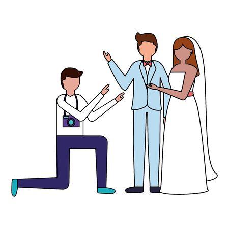 photographer taking a photo couple wedding vector illustration