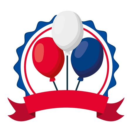 decoration balloons happy bastille day flat design vector illustration