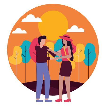 paar romantische liefde buitenshuis platte ontwerp vectorillustratie
