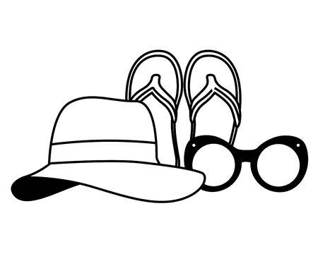 vacations hat sandals and sunglasses vector illustration Ilustração
