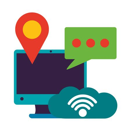 computer cloud storage camera chat location wifi free connection vector illustration Ilustrace
