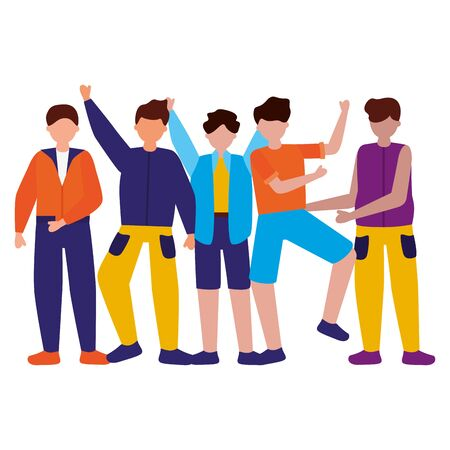 group men people celebration characters vector illustration