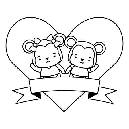 cute couple monkey animals heart love ribbon vector illustration
