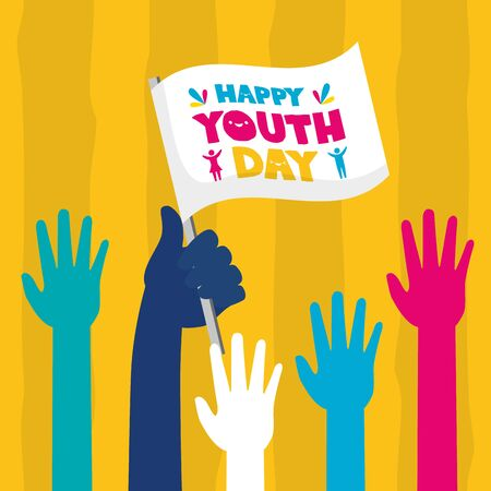 raised hands flag celebration happy youth day flat design vector illustration 向量圖像