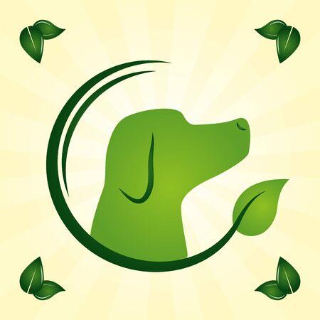 chien feuilles naturelles eco friendly vector illustration