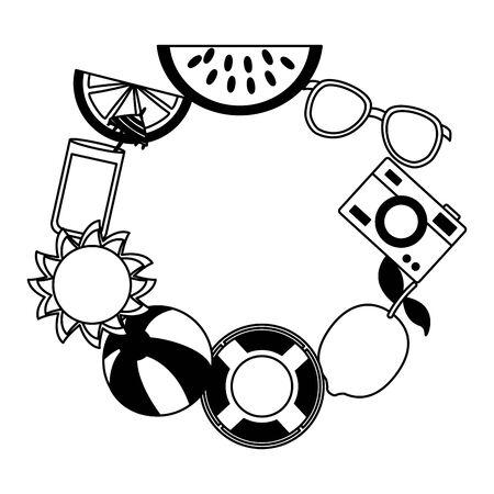 summer time holiday lifebuoy beachball sunglasses cocktail fruits sun vector illustration