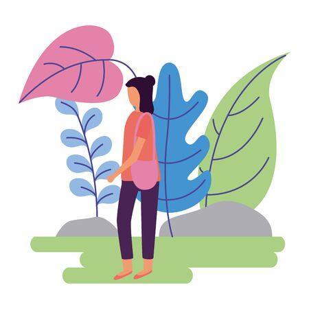 woman with handbag activity outdoors on white background vector illustration Illusztráció