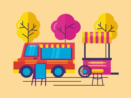 food truck outdoor serivce trees nature vector illustration