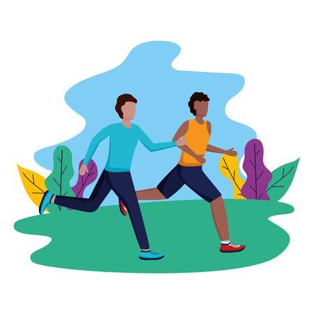 two men practicing running activity in the park vector illustration Illustration