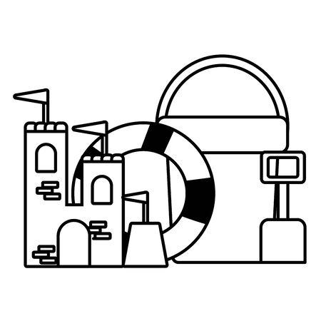Vacaciones de verano salvavidas castillo de arena balde pala ilustración vectorial Ilustración de vector