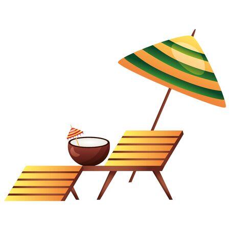 summer time holiday deck chair coconut umbrella vector illustration
