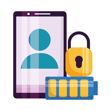 smartphone avatar battery security media vector illustration