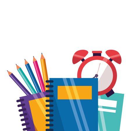 notebooks clock and pencils back to school vector illustration 일러스트