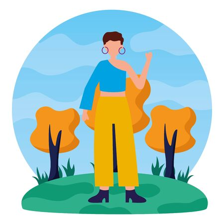 celebrating woman in the outdoors vector illustration Çizim