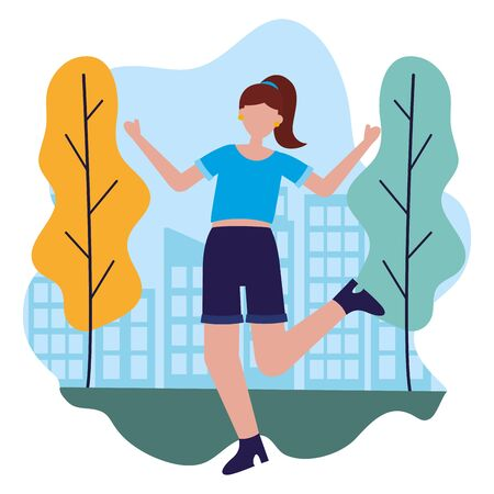 celebrating woman in the city park vector illustration Ilustrace