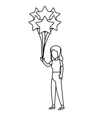 woman and balloons helium floating with stars shape vector illustration design 일러스트