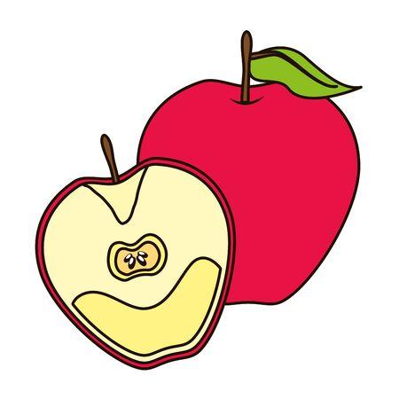 apple tropical fruits vector illustration on white background Иллюстрация