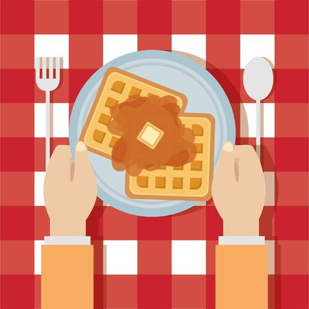 man breakfast cooking waffle syrup cutlery vector illustration