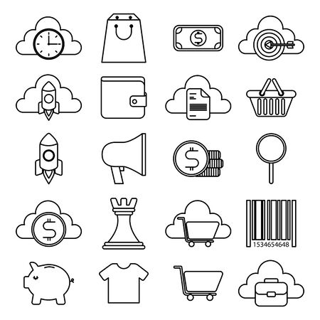bundle of business monochrome set icons vector illustration design Иллюстрация