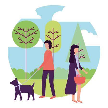 man with dog and woman activities outdoors vector illustration Illusztráció
