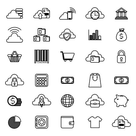 bundle of business monochrome set icons vector illustration design Çizim