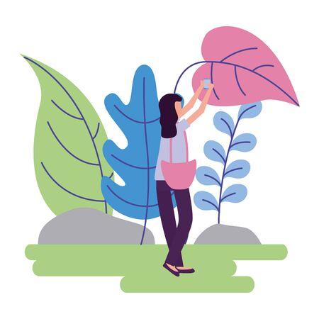 woman with smartphone selfie, activities outdoors vector illustration