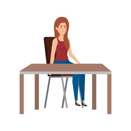 young woman sitting in chair and table vector illustration design Ilustração
