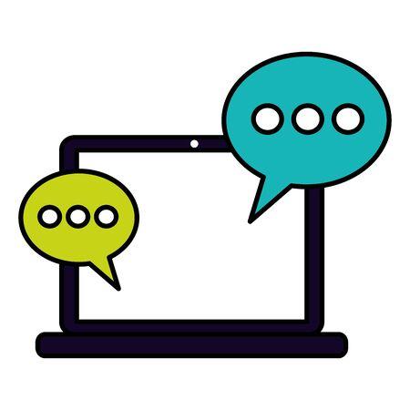 laptop computer speech bubble social media vector illustration