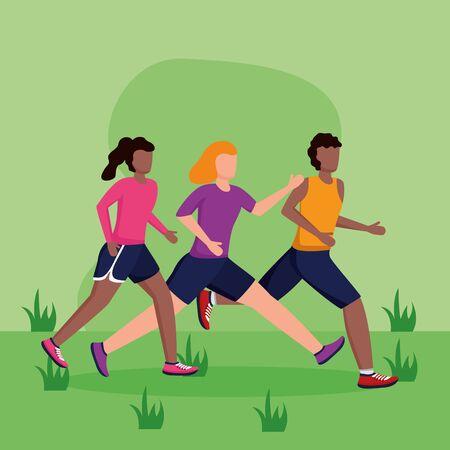 man and women training running activity vector illustration
