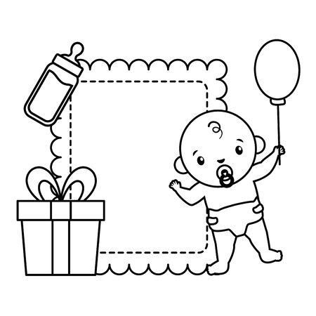 baby boy with gift milk bottle baby shower vector illustration