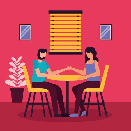 couple holding hands sitting table and chairs romantic activities flat design vector illustration Ilustracja