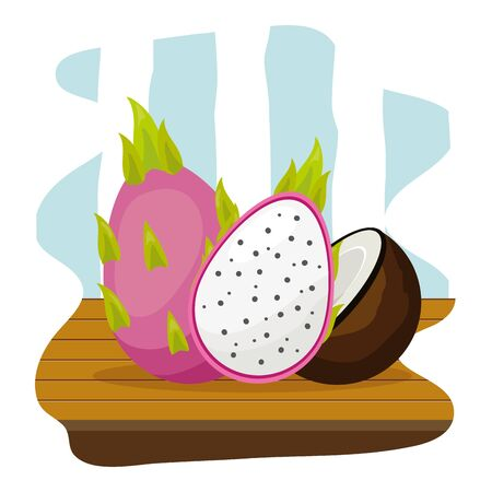 dragon fruit and coconut tropical fruits table vector illustration Illustration