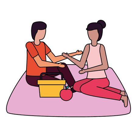 couple eating picnic romantic love flat design vector illustration Illustration