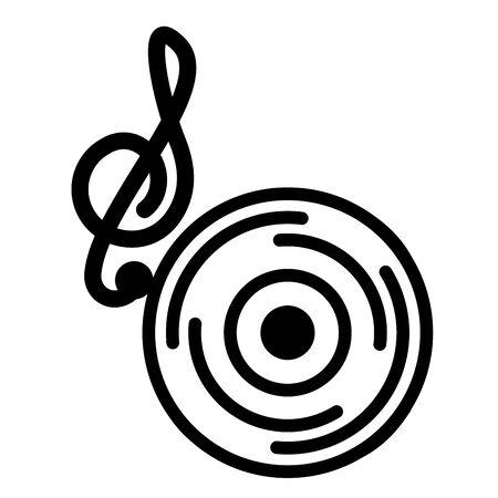 note musical vinyl on white background vector illustration Illusztráció